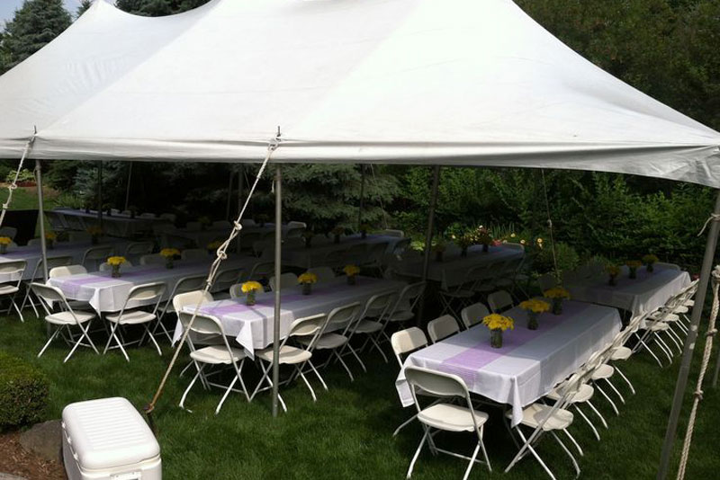 Backyard Tent Rental With Table Chairs